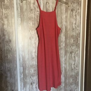 H&M Stretchy Coral Ribbed Dress SMALL